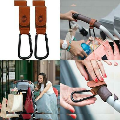 Brown Buggy Clips by Baby Uma - Premium Leather Style Pushchair Hooks