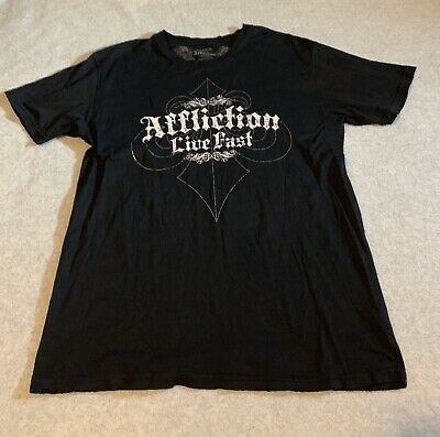 Affliction Live Fast Mens Size XL Black Graphic T-Shirt Distressed Tee