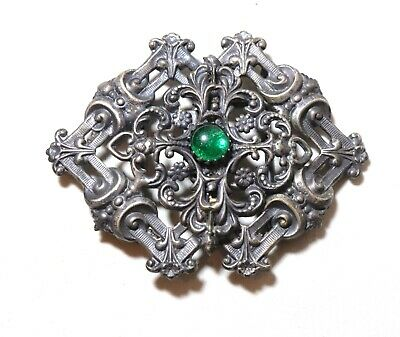 antique ornate Victorian 1800's tooled silver plated 2 piece belt buckle stone