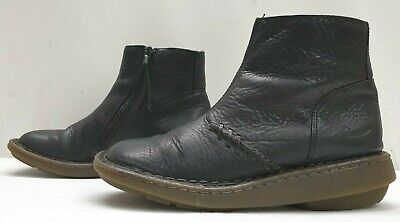 GENUINE ladies womens black real leather ankle boots Size 4 EU 37
