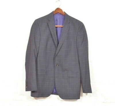 Ted Baker Endurance 42L Navy Blue Plaid Check Jay Slim Recent 2 Button Blazer