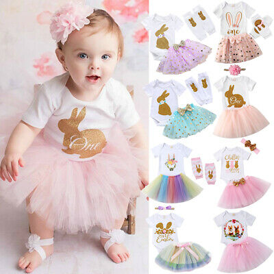 US 3PCS Baby Girl 1st Easter Outfit Party Bunny Romper Cake Smash Tutu Dress
