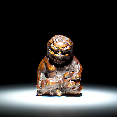 NETSUKE - Japanese Antique -, Oni, Wood, 19th Century