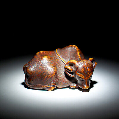 NETSUKE - Japanese Antique -, Reclining Ox, Wood, 19th Century