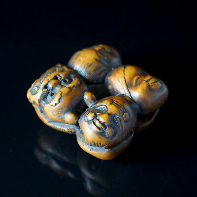 NETSUKE - Japanese Antique -, Various Masks, Wood, 19th Century