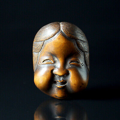 NETSUKE - Japanese Antique -, Okame, Wood, 19th Century