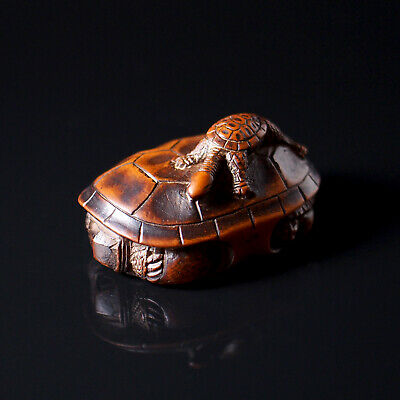 NETSUKE - Japanese Antique -, Tortoise With Young, Wood, 19th Century