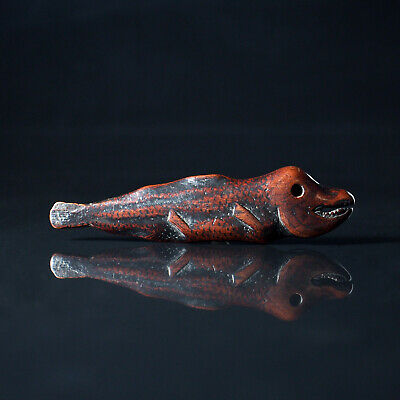 NETSUKE - Japanese Antique -, Dried Salmon, Wood, 18th - 19th Century