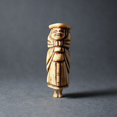 NETSUKE - Japanese Antique -, Foreigner from Europe, Stag Antler, 19th Century