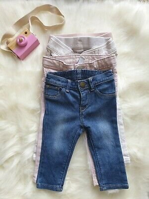 Girl's Baby Bundle GAP Skinny Jeans Trousers Blue Cream Pink 6-12m 12-18m Spring