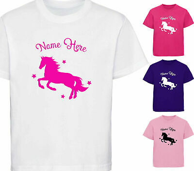 Personalised Horse T-Shirt Girls Childrens Riding T Shirt Kids Equestrian Gift