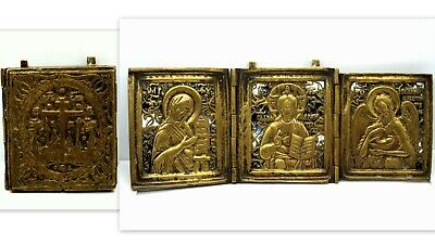 Antique Authentic Christian Russian Travelling Bronze Enamel Triptych Icon 19C.