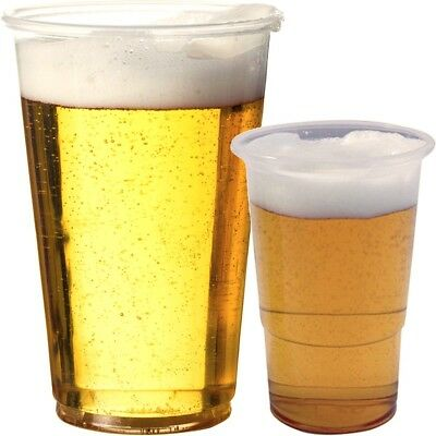 Disposable Clear Strong Plastic Pint & Half 1/2 Beer Glasses Cups Tumblers Drink