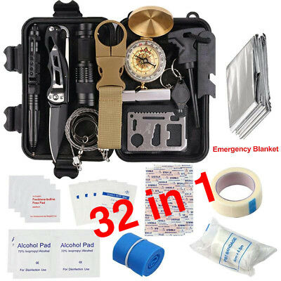 32 in 1 Outdoor Camping Survival Gear Kits SOS EDC Self Defense Emergency Kit