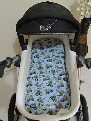 Pram bassinet liner-Construction trucks-Fits all pram bassinets