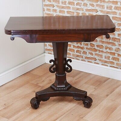 Antique William IV Victorian Mahogany Fold Over Card Games Table Hall Sofa Table