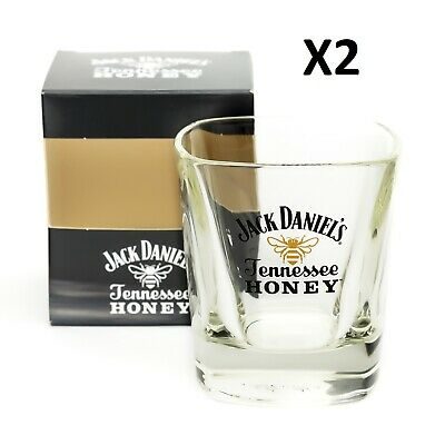 2 x Jack Daniels Tennessee Honey Whisky Glass Tumbler Home Pub Bar Present Boxed
