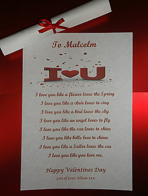 Personalised Valentines Day Gift I Love You Poem A5 Print For Him Her Boyfriend