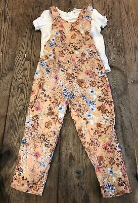BNWT Next Beautiful Floral Dungarees Outfit Age 2-3 Years Girls Clothes