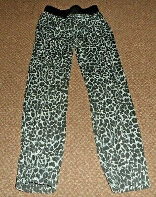 f+f grey and black patterned loose fit trousers - girls 6 - 7 years