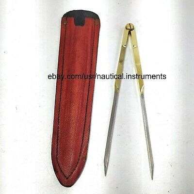 Marine navigation Straight Pattern Brass Divider With Steel End Points 8 inches