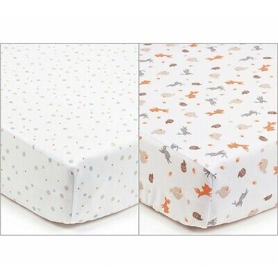BreathableBaby Fitted Cot Sheet Twin Pack - Enchanted Forest - Warehouse Deal