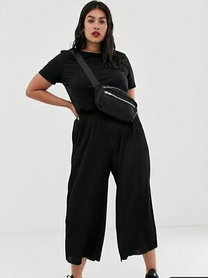 Asos Curve Black Plisse Culotte Trousers - UK 26