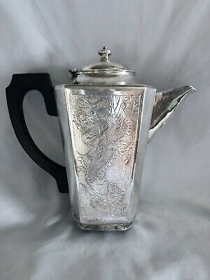 Antique Chinese hand chased dragon silver plated tea pot from Hong Kong  1900th