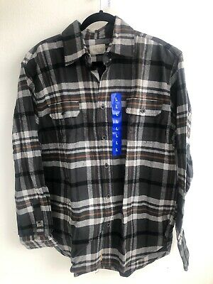 D34) Jachs Men's Long Sleeve Flannel Brawny Flannel Shirt grey Large