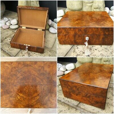 ANTIQUE 19c BURR WALNUT DOCUMENT/JEWELLERY BOX - WONDERFUL INTERIOR