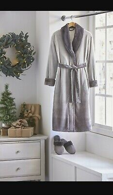 alcove Unisex Robe and Slipper Set  L/XL - Size: L/XL, Color: grey new