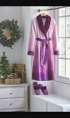 alcove Unisex Robe and Slipper Set  S/M - Size: S/M, Color: Plum new