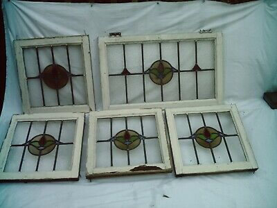 5 Antique Vintage 1930's Stained Glass Leaded Light Windows In Wooden Frames