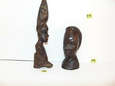 2 Vintage Hand Carved African Wood Wooden Face Bust Sculptures