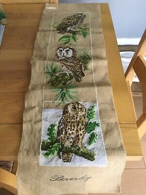 Large Owl Tapestry In good condition. Part Completed.