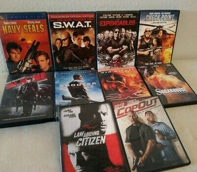 """10 DVD """"Tough Guy Action"""" Lot - Navy Seals, Shooter, XXX Expendables & Much More"""