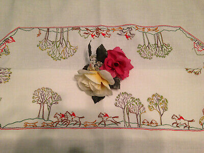 Vintage Hand Embroidered  Tablecloth  ~ English Country Scene Riders Horses Dogs