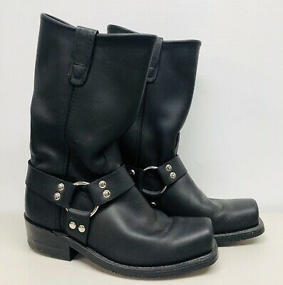 DOUBLE-H BOOT CO Sierra Black Leather Harness Motorcycle Mens Size 8 HH Boots