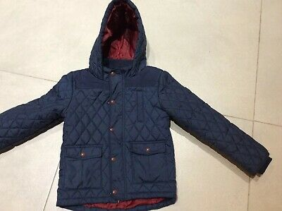 VGC M&S Navy Boys Winter Coat Size Age 6-7 Years Navy Blue Padded Marks Spencers