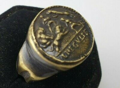 Ancient Bronze Legio  Ring-Vintage-Antique ROMAN-BRONZE-RARE -