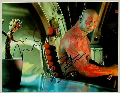 GUARDIANS OF THE GALAXY photo signed by VIN DIESEL Groot & DAVE BAUTISTA, w/COA