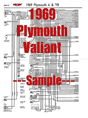 1969 Plymouth Valiant Wiring Diagram Manual 69 9 00 Picclick