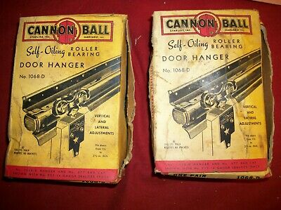 2 Pair Vintage Cannon Ball Barn Door Hangers Rollers in Box