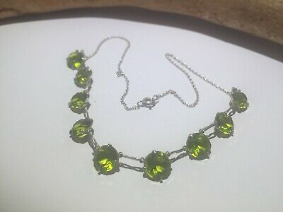 """Antique Old Cut Green Paste Short Riviere Sterling Silver Necklace Art Deco 15"""""""