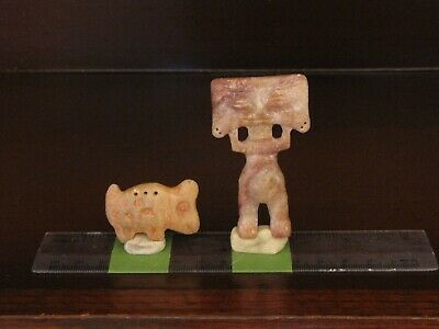 *Pre Columbian, Stone, South American, Quimbaya, Two Stone Figures + 1100 2000