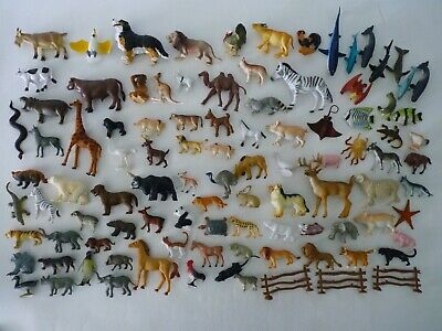"(98) Hard Plastic Animal Toy Figures Sizes 1.5""~ 4.5"" Sealife Farm Wildlife #2"