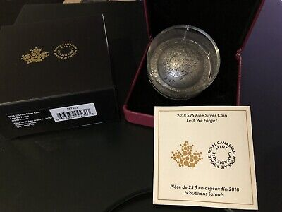 2018 $25 Fine Silver Coin Lest We Forget