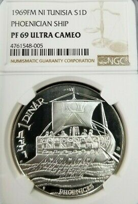 1969 Tunisia Silver 1 Dinar S1D Phoenician Ship Ngc Pf 69 Ultra Cameo Top Pop
