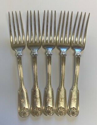 """Set of 5 Tiffany & Co Shell & Thread Salad Forks Sterling Silver 7"""" Mono"""