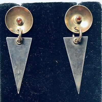 Vintage Retro Modern SS & Gold Plated Tall Dangle Earrings Set